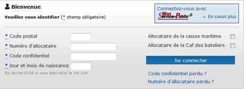 Formulaire de connexion CAF