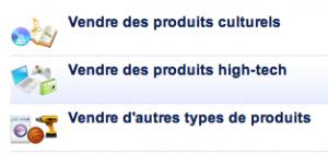 Ventes de différents types de produit