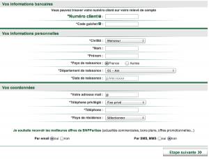Remplissez le formulaire avec vos informations personnelles