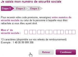 Saisissez votre numéro de sécurité sociale