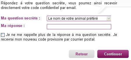 Répondez à votre question secrète