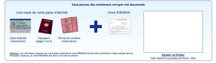 Joignez une copie de votre pièce d'identité et votre RIB/IBAN