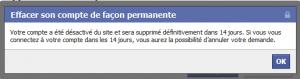 Facebook, effacement définitif