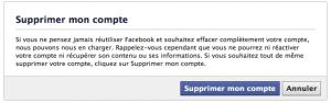 Facebook, supprimer votre compte