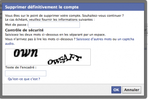 Facebook, suppression définitive