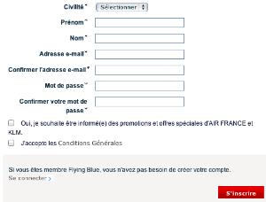 Inscription au compte Air France KLM