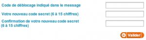 Entrez le code d'activation et choisissez votre mot de passe