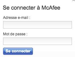 Connexion à votre compte McAfee