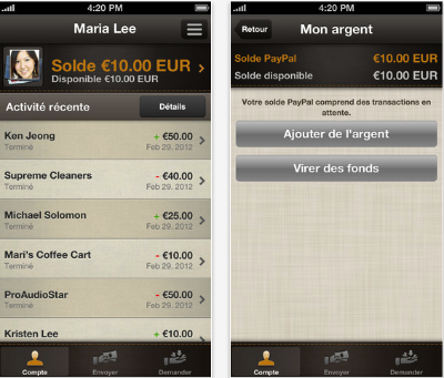 Les applications Paypal