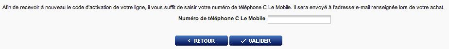 Entrez votre numéro de mobile pour recevoir un code d'activation par mail