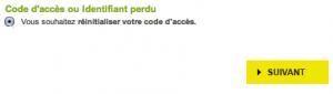Cliquez sur le premier choix : réinitialiser votre code d'accès