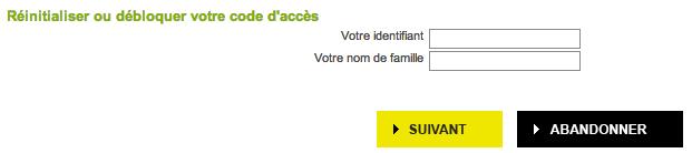 Entrez votre identifiant ainsi que votre nom de famille pour réinitialiser votre code d'accès