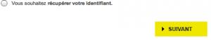 Cliquez sur le deuxième choix : récupérer votre identifiant