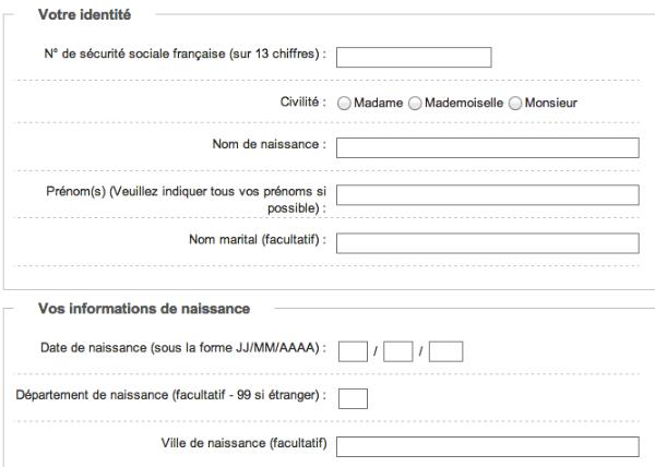 Renseignez les informations vous concernant : votre identité et vos informations de naissance