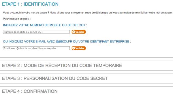 Entrez votre adresse mail bbox.fr pour recevoir votre code temporaire BBOX et personnalisez ensuite.
