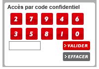 Entrez votre code confidentiel à l'aide du pavé numérique