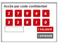 Entrez votre code confidentiel à l'aide de votre souris