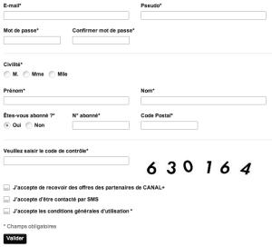 Création d'un compte CanalSat