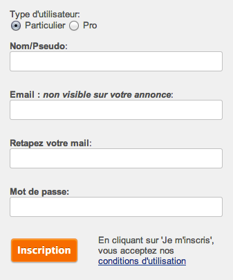 Création compte Vivastreet : pseudo, email, mot de passe