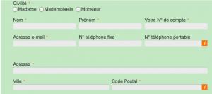 Remplissez le formulaire avec vos informations pour recevoir votre nouveau code personnel CA