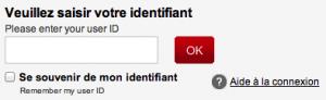 Saisissez votre identifiant à 11 chiffres