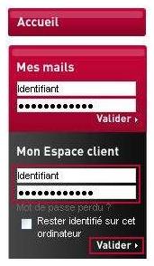 Entrez votre identifiant et votremot de passe et validez.