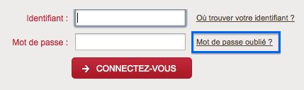 """Cliquez sur le lien """"Mot de passe oublié?"""" pour réinitialiser votre mot de passe"""